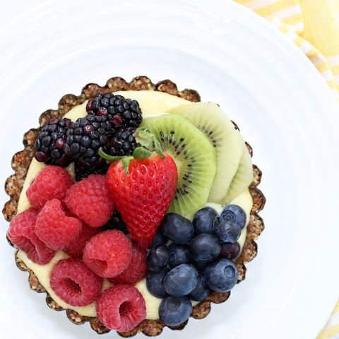 Fruit Tart with Walnut Crust and Yogurt