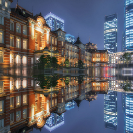 Tokyo Station After Rainy Day by Nyoman Sundra - City,  Street & Park  Historic Districts ( japan, station, tokyo, historic district, city )
