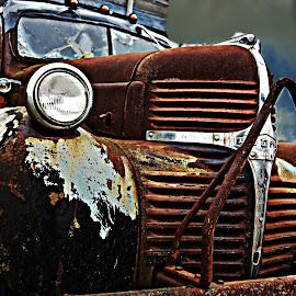 Rusting Farm Truck by Lorraine D.  Heaney - Transportation Automobiles