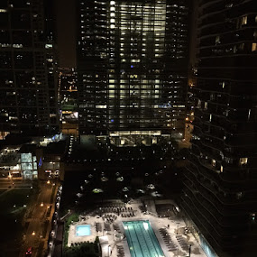 Night Pool by Alice Gipson - City,  Street & Park  Vistas ( pool, alicegipsonphotographs, chicago, nightscape )