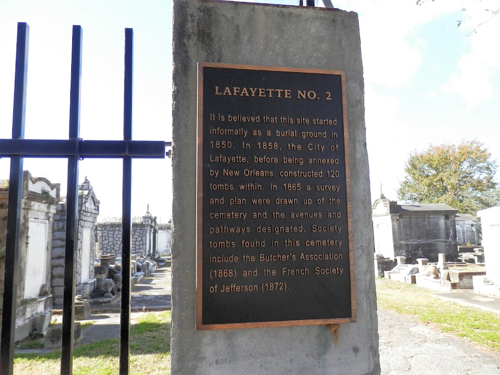 It is believed that this site started informally as a burial ground in 1850. In 1858, the City of Lafayette, before being annexed by New Orleans, constructed 120 tombs within. In 1865 a survey and ...