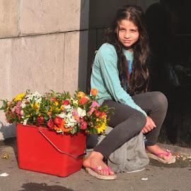 Illustration by J & M - People Street & Candids ( girl, street, illustration, image, view, flowers )