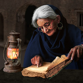 Old Wisdom by Nayyer Reza - People Portraits of Women ( old book, lantern, reading, color, woman, wisdom, nayyer, reza,  )