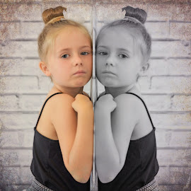 On the other side by Love Time - Digital Art People ( colour, child, girls, black and white, twins, wall )