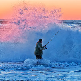 Hazard of Surf Fishing by Paula Eagle - Sports & Fitness Other Sports ( surf fishing )