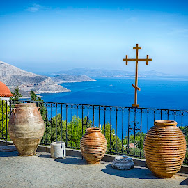 Kalymnos patio by Murat Besbudak - Landscapes Travel ( kos, sky, blue, kalymnos, sea, aegean, island )
