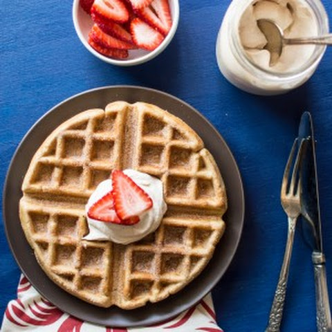 Churro Waffles with Homemade Cayenne Whipped Cream