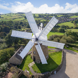 Heage Windmill by Steven Stamford - Buildings & Architecture Public & Historical ( six sails, six sailed mill, windmill, derbyshire, six sailed windmill, heage windmill, aerial image, heage, azimuth images, drone, mill )