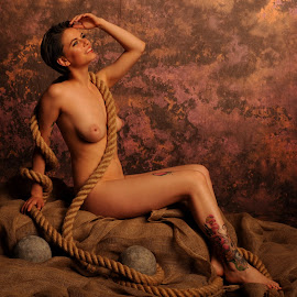 Smile in the Rope by DJ Cockburn - Nudes & Boudoir Artistic Nude ( studio, art nude, cannon ball, model, sitting, nude, rope, woman, estrany, hessian, tattoo, smiling )