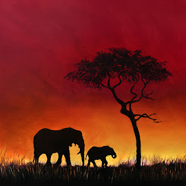 Sunset stroll by Linda Woodward - Painting All Painting ( elephants, animals, sunset, elephant, silhouette, sunrise, africa )