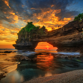 Sky Burnin' by Kadek Jaya - Landscapes Sunsets & Sunrises ( water, bali, sky, indonesia, sunset, rock, tanah lot, beach, seascape )