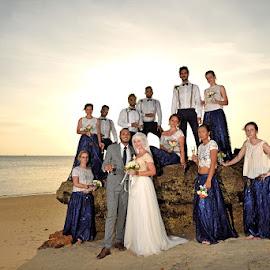 Sunset Rock by Andrew Morgan - Wedding Groups ( wedding, sunset, destinationwedding, rock, beach )