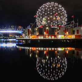 Vancouver Landmarks by Cory Bohnenkamp - City,  Street & Park  Skylines ( water, landmarks, reflections, long exposure, night, vancouver, science world, bc place )