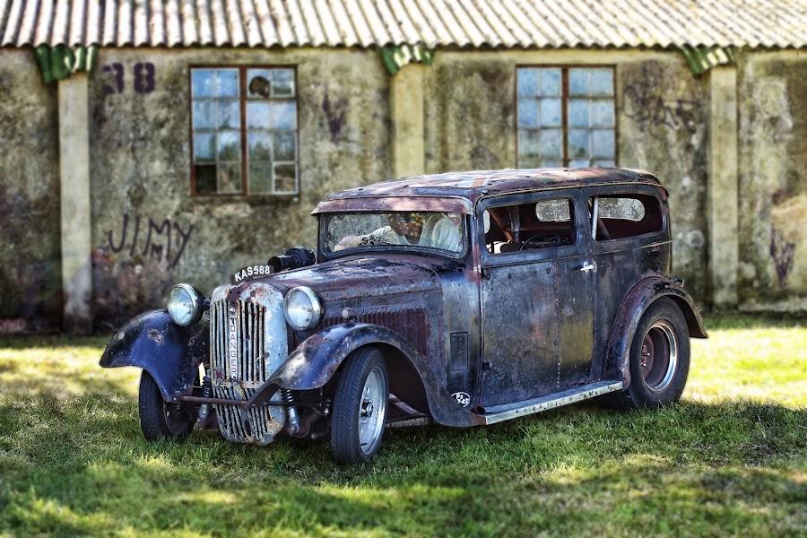 Skanky Car by Peter Parker - Transportation Automobiles ( twinwood, car, grafitti, vintage, ruin, rust, skanky, tatty )