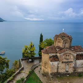 Ohrid by Martin Vanek - Buildings & Architecture Places of Worship ( church, waterscape, ripples, ohrid, lake, landscape, macedonia )