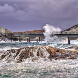 Atlantic Road by Jan Helge - Landscapes Waterscapes ( water, wave, bridge, road, storm, atlantic )
