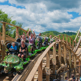 roller coaster fun by Michael Graham - City,  Street & Park  Amusement Parks ( wooden roller coaster, story land, amusement park, dinosaur, amusement ride, theme park, roller coaster, new hampshire,  )