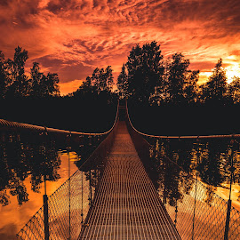 by Markus Lundholm - Landscapes Sunsets & Sunrises ( clouds, sky, trees, sea, lake, bridge )