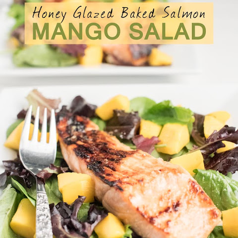 Honey Glazed Baked Salmon and Mango Salad