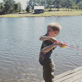 Learning to fish by Bryan Taylor - Sports & Fitness Other Sports ( fishing pole, lake, son, learning, fishing )