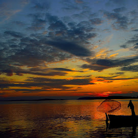 Fisherman by Aydın Salur - Landscapes Sunsets & Sunrises ( sunset, d5300, lake, turkey, nikon )
