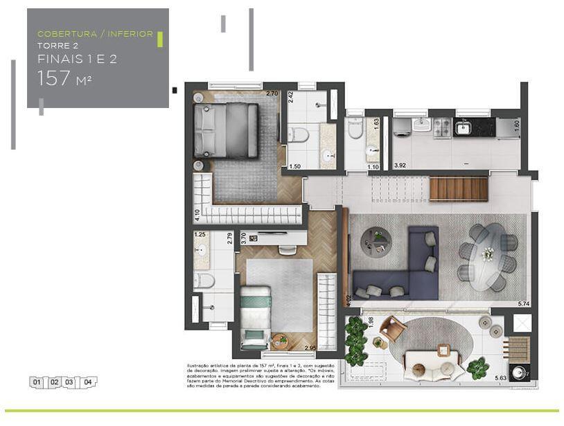 Planta Cobertura Inferior - 157 m²