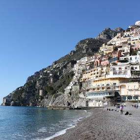 Houses carved into the rocks at Positano by Svetlana Joshi - City,  Street & Park  Vistas