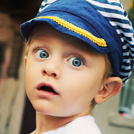 Cuteness by Bianca S. - Babies & Children Child Portraits ( marine, blue, cap, boy, eyes )
