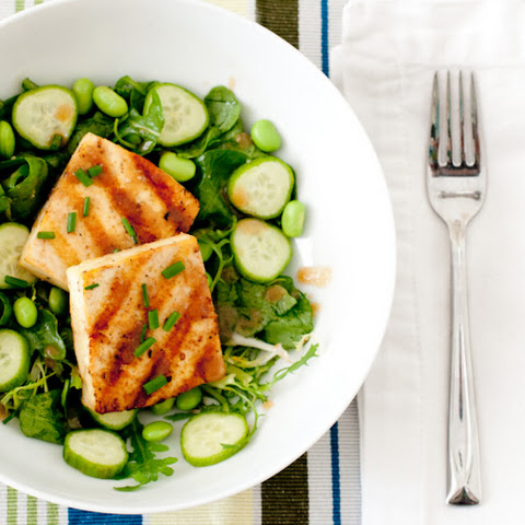 Grilled Miso-Soy Tofu with Edamame and Cucumber Green Salad