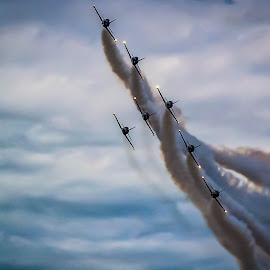 Comin' at Ya' by Pat Lasley - Transportation Airplanes ( clouds, airplanes, jets, planes, smoke, formation,  )