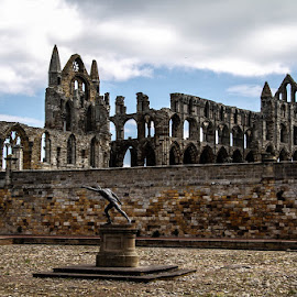 Whitby Abbey by Andrew Lancaster - Buildings & Architecture Public & Historical ( abbey, beautiful, church, dracula, whitby, statue, clouds, monument, worship, building )