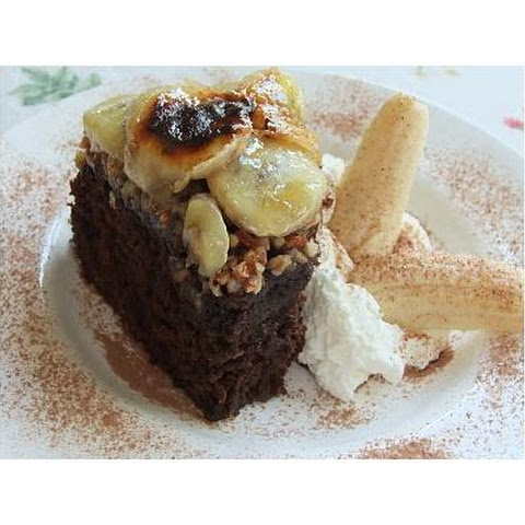 Devil's Food Cake With Caramelized Bananas