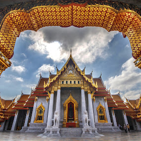 Benjamabophit Temple by Waraphorn Aphai - Travel Locations Landmarks ( bangkok, frame, benjamabophit temple, gold )