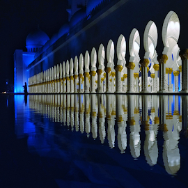 INVOCATION by Bhaskar Photography - Instagram & Mobile Android ( lights, reflection, night photography, blue, bhaskar photography, motoxplay, architecture, sheikh zayed mosque, mobile photography,  )