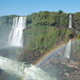 Rainbow on Iguazu Falls, Brazil by Isabelle Ebens - Landscapes Waterscapes ( brazil, waterfalls, iguazu, curitiba, rainbow )
