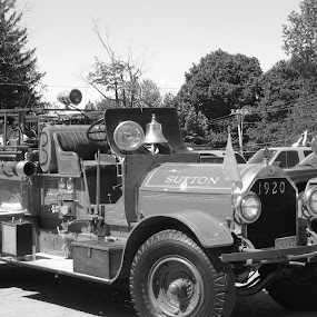 1920 fire truck by Jessie Dautrich - Transportation Automobiles ( old, black and white, firetruck, transportation, antique,  )