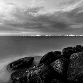 Beach by Avi Chatterjee - Landscapes Beaches ( waves, dubai marina, long exposure, pwcbwlandscapes, beach )