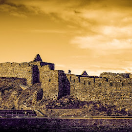 Peel Castle Panorama at Sunset by Paul Milligan - Buildings & Architecture Public & Historical ( building, ancient, monument, architecture, historic )