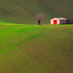The house with red door by Mauro Fini - Landscapes Mountains & Hills