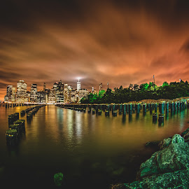 Chocolate Chippin by George Varkanis - City,  Street & Park  Skylines ( newyorkcity, nyc, landscape, ny, city, night shots, sky, piers, tree, night photography, nighttime, buildings, pier, nikon, rocks, clouds, building, night scene, beautiful, newyork, amazing, night view, cities, cloud, trees, night, landscapes, longexposure, nightscapes, brooklyn )