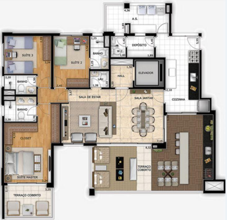 Planta Opção - 163 m²
