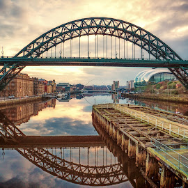 Tyneside Sunrise by Adam Lang - Buildings & Architecture Bridges & Suspended Structures ( clouds, quayside, gateshead, tyne bridge, newcastle, sunrise )