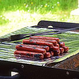 Grillin' Dogs by Becky Luschei - Food & Drink Meats & Cheeses ( hotdogs, dogs, waiting, eaten, grillin', served, stack, grilled )