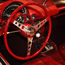 Red Panther by Marco Bertamé - Transportation Automobiles ( 1959, red, corvette, c1, chevrolet, vintage, chrome, anno, steering wheel, convertible,  )