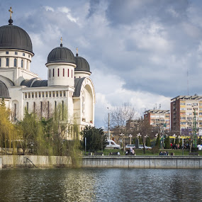 Lake relection by Marius Radu - Buildings & Architecture Public & Historical ( sky, church, clouds, lake, water )