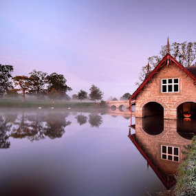 Misty Boathouse by Brens Photo's - Landscapes Beaches ( water, reflection, light, mist )