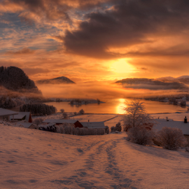 After Snowfall by Rune Askeland - Landscapes Sunsets & Sunrises ( mountains, winter, fog, snow, sunrise, norge, mellingen, norway )