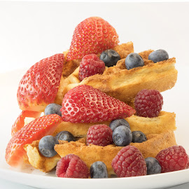 Waffle stacked fruit by Jim Downey - Food & Drink Plated Food ( waffles, strawberries, white, blueberries, raspberries )