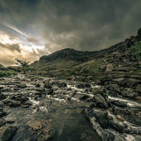 Change is Coming by Peter Rollings - Landscapes Mountains & Hills ( stormy, clouds, water, boulders, stream, mountain, tree, wales, rocks, river )