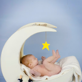 Cow jumped over the moon by Christina Smith - Babies & Children Babies ( moon, infant, cow, twisted images photography, props )